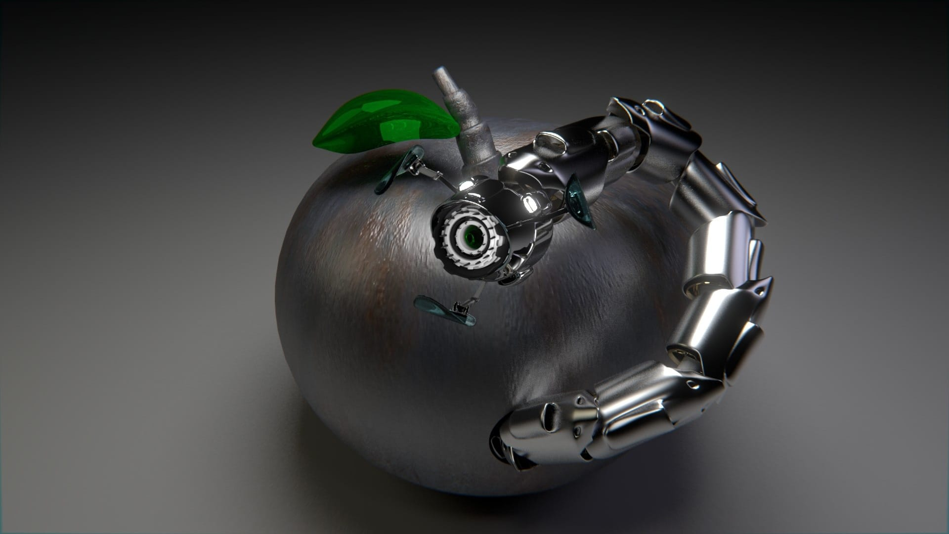ein Apfel mit einem Roboter Wurm