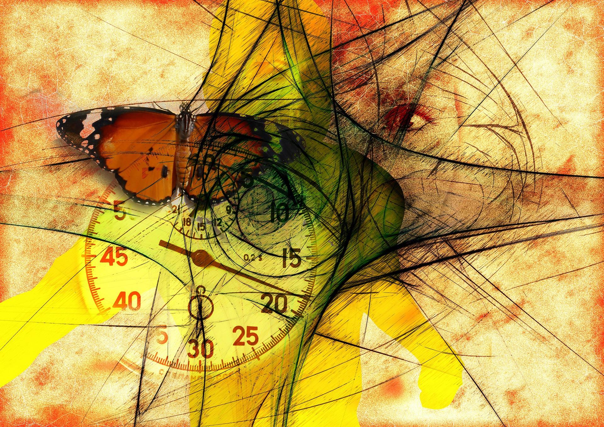 gelbe Fläche mit einem Schmetterling, einer Uhr und einem gezeichneten Auge