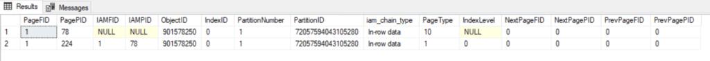Output von DBCC IND ('SQL_Internals_1','dbo.test',-1)